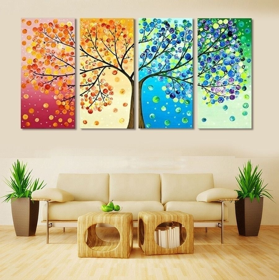4 Piece Frameless Colourful Leaf Trees Canvas Painting Wall Art for Living Room Painting Wall Art (Image 7 of 20)