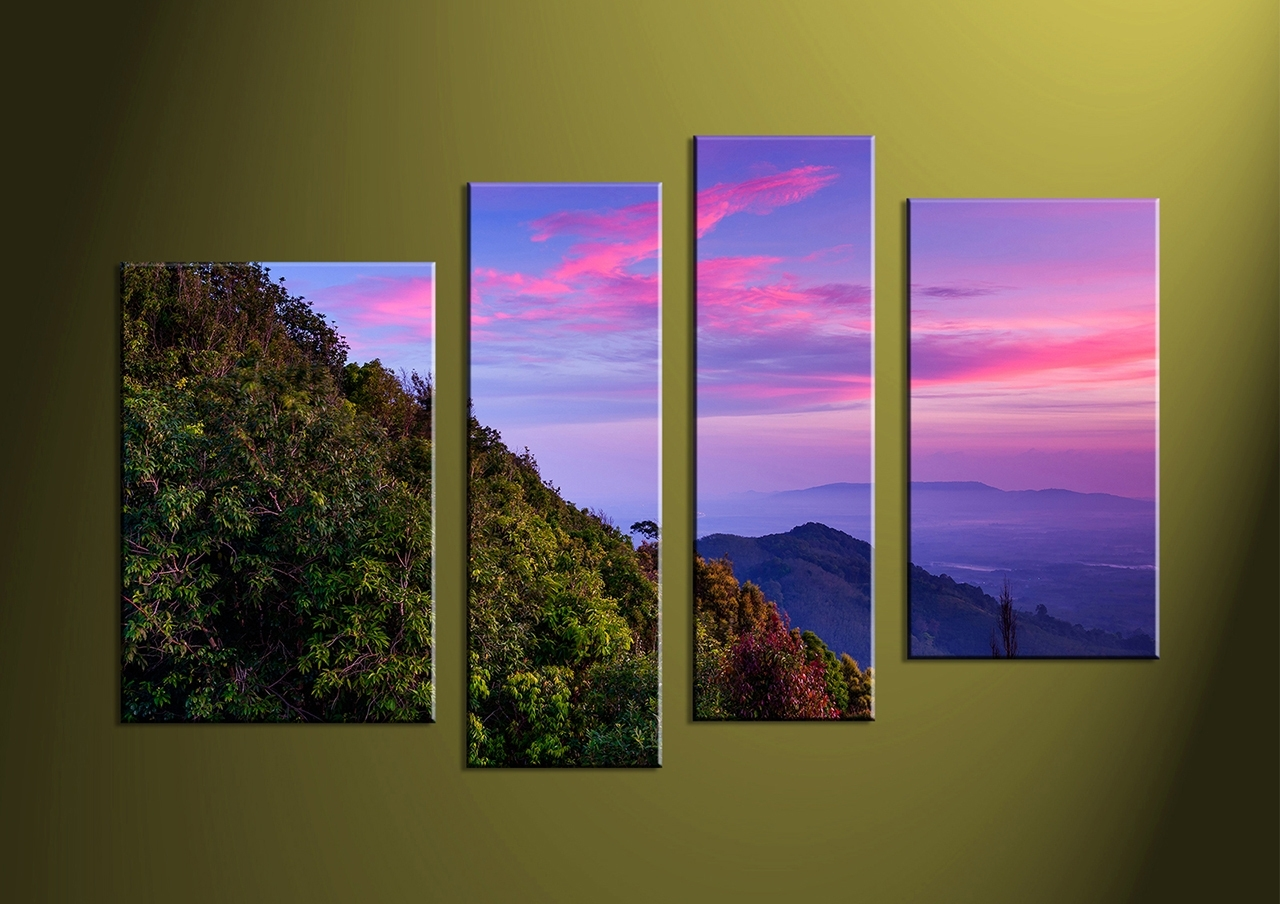 4 Piece Green Landscape Purple Multi Panel Art Creative, Multi Piece In 4 Piece Wall Art (View 10 of 20)
