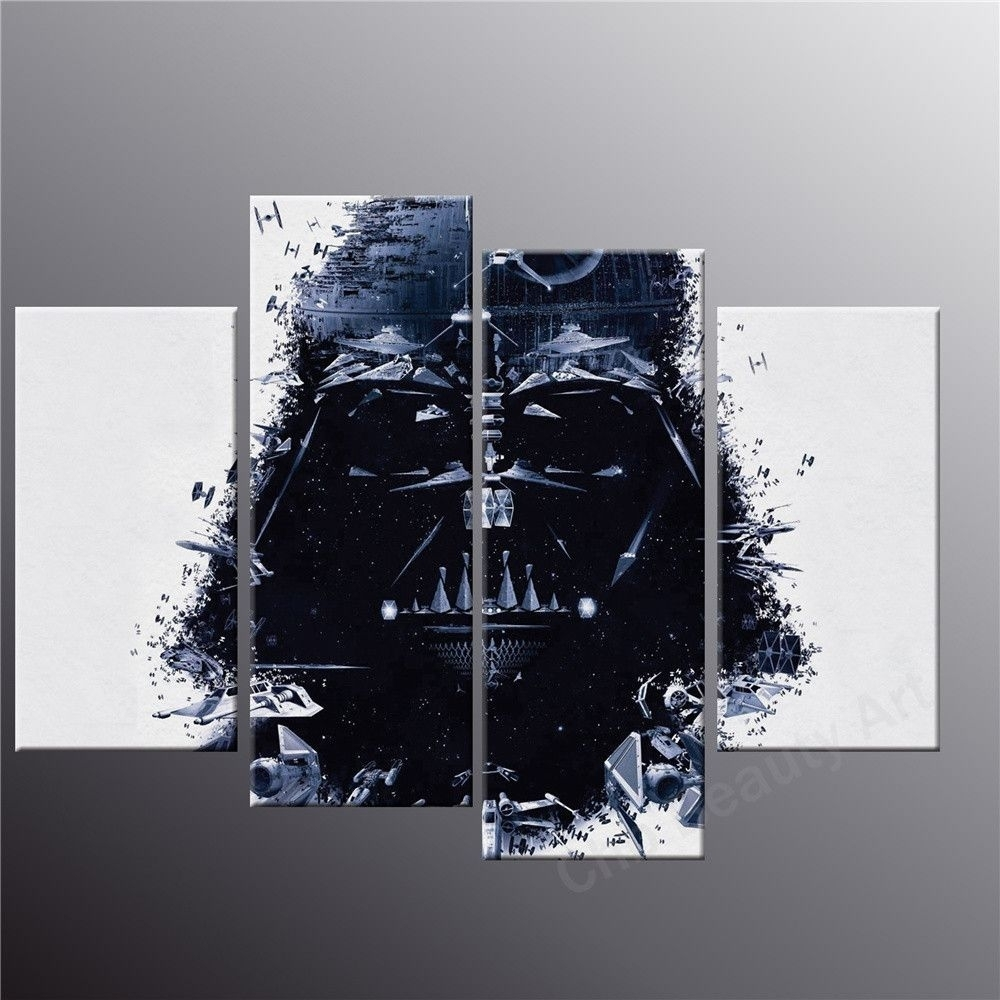 4 Piece Printed Star Wars Canvas Art Modern Painting Room Decoration Within Star Wars Wall Art (View 1 of 20)