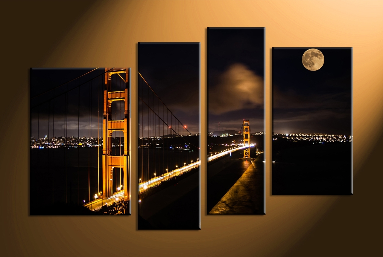 4 Piece Wall Art Impressive Black Canvas City Bridge Pictures Pertaining To 4 Piece Wall Art (View 11 of 20)