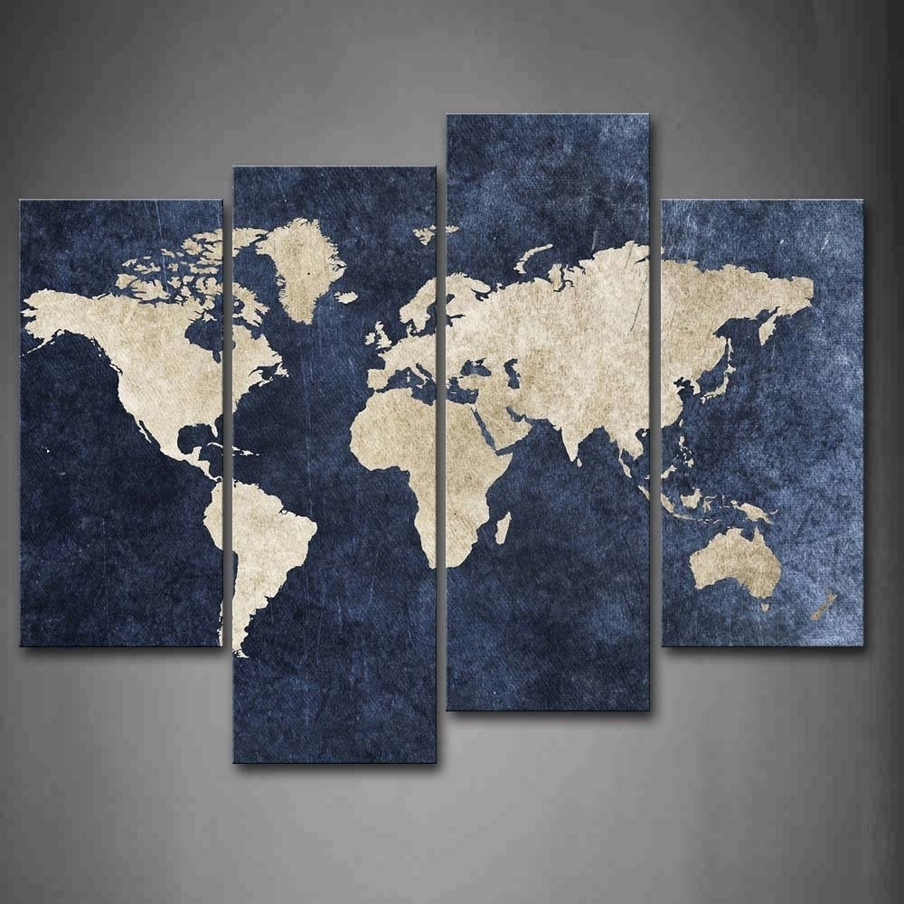 4 Piece World Map Canvas Wall Art100% Hand Painted Oil Painting throughout World Map for Wall Art (Image 1 of 20)