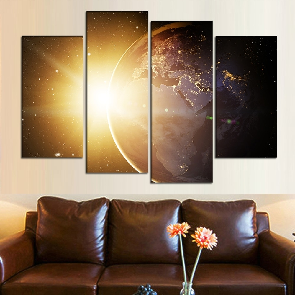 4 Pieces Framed Wall Art Canvas Sunlight Painting Planet Earth Intended For 4 Piece Wall Art (View 6 of 20)