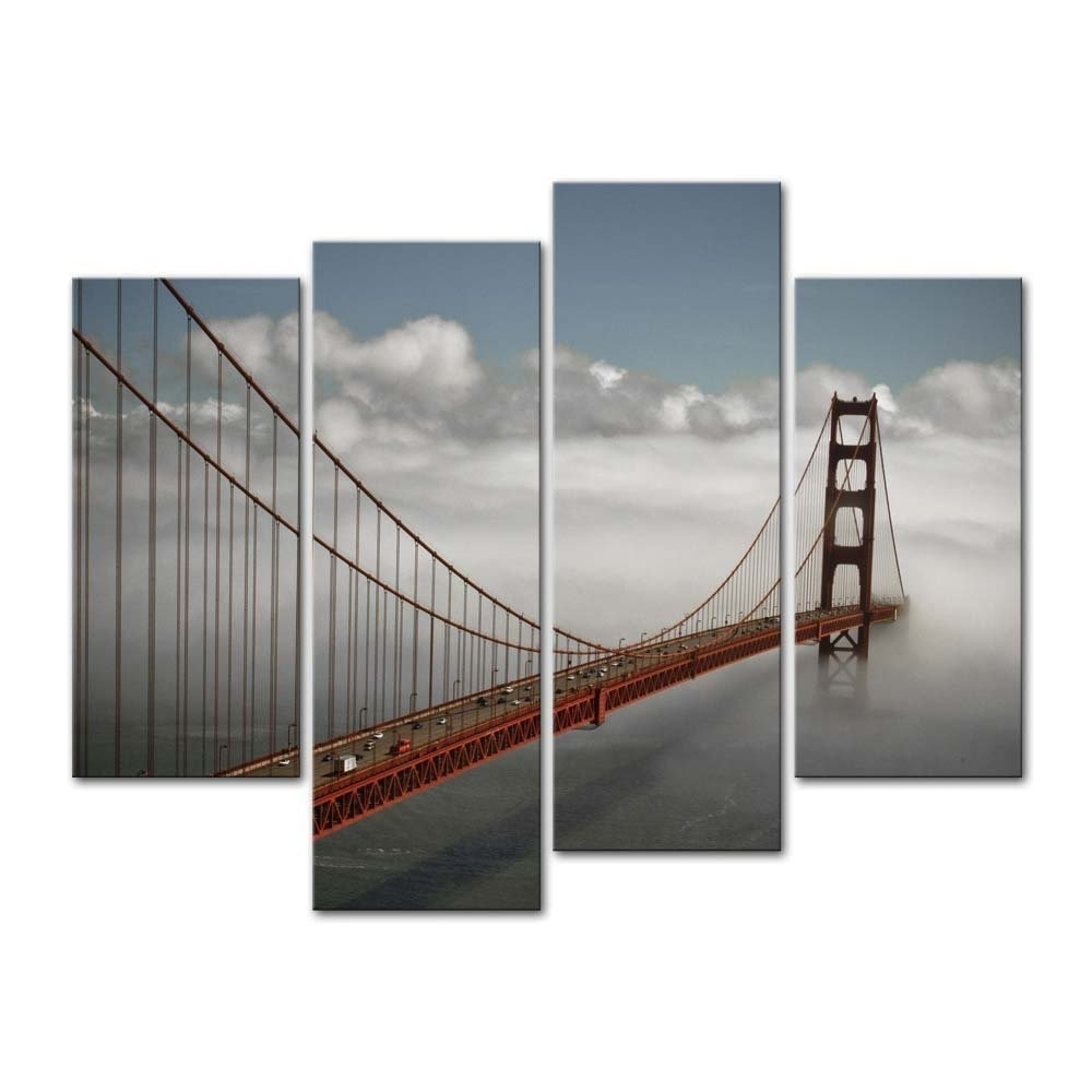 4 Pieces Modern Canvas Painting Wall Art San Francisco In Fog Bridge In San Francisco Wall Art (View 17 of 20)