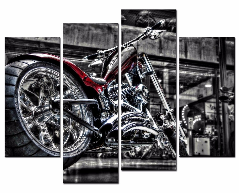 4 Pieces Motorcycle Wall Art Picture Home Decoration Living Room intended for Motorcycle Wall Art (Image 2 of 20)