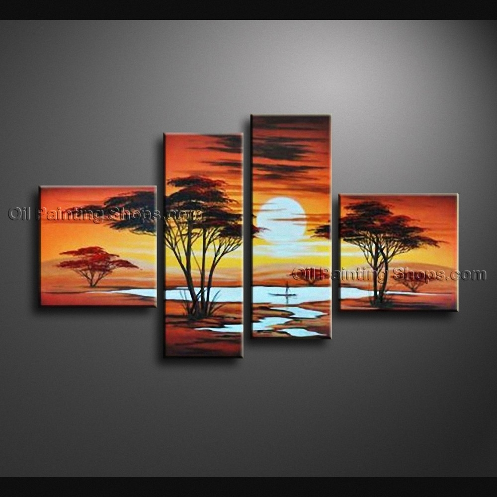 40 4 Piece Wall Art, 4 Pieces Contemporary Wall Art Floral Painting For 4 Piece Wall Art (View 7 of 20)