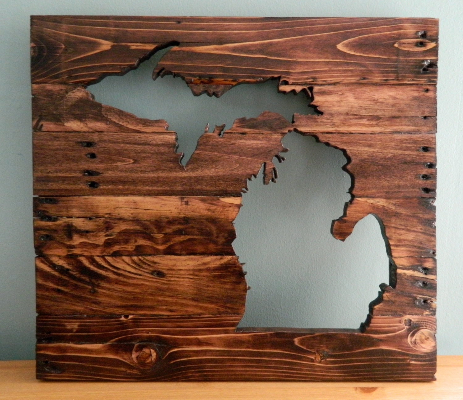 40 Michigan Wall Art, Items Similar To Copper Map Art Of Michigan pertaining to Michigan Wall Art (Image 1 of 20)