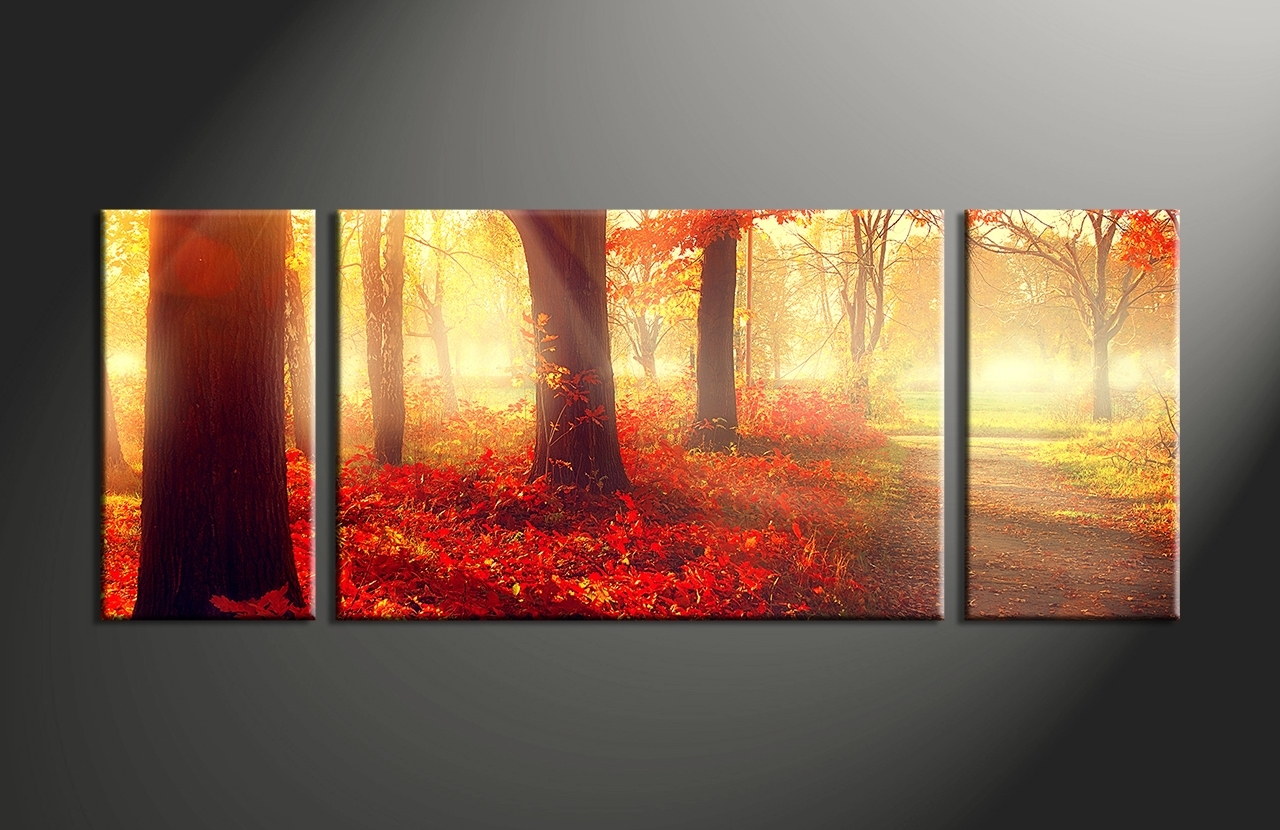 40 Wall Art Canvas Prints, 3 Piece Red Autumn Scenery Canvas Wall Inside 3 Piece Canvas Wall Art (View 8 of 20)
