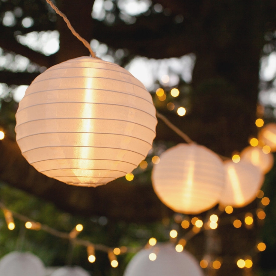 40 White Chinese Lantern Connectable Indoor Outdoor Led Fairy String for Outdoor Chinese Lanterns For Patio (Image 2 of 20)