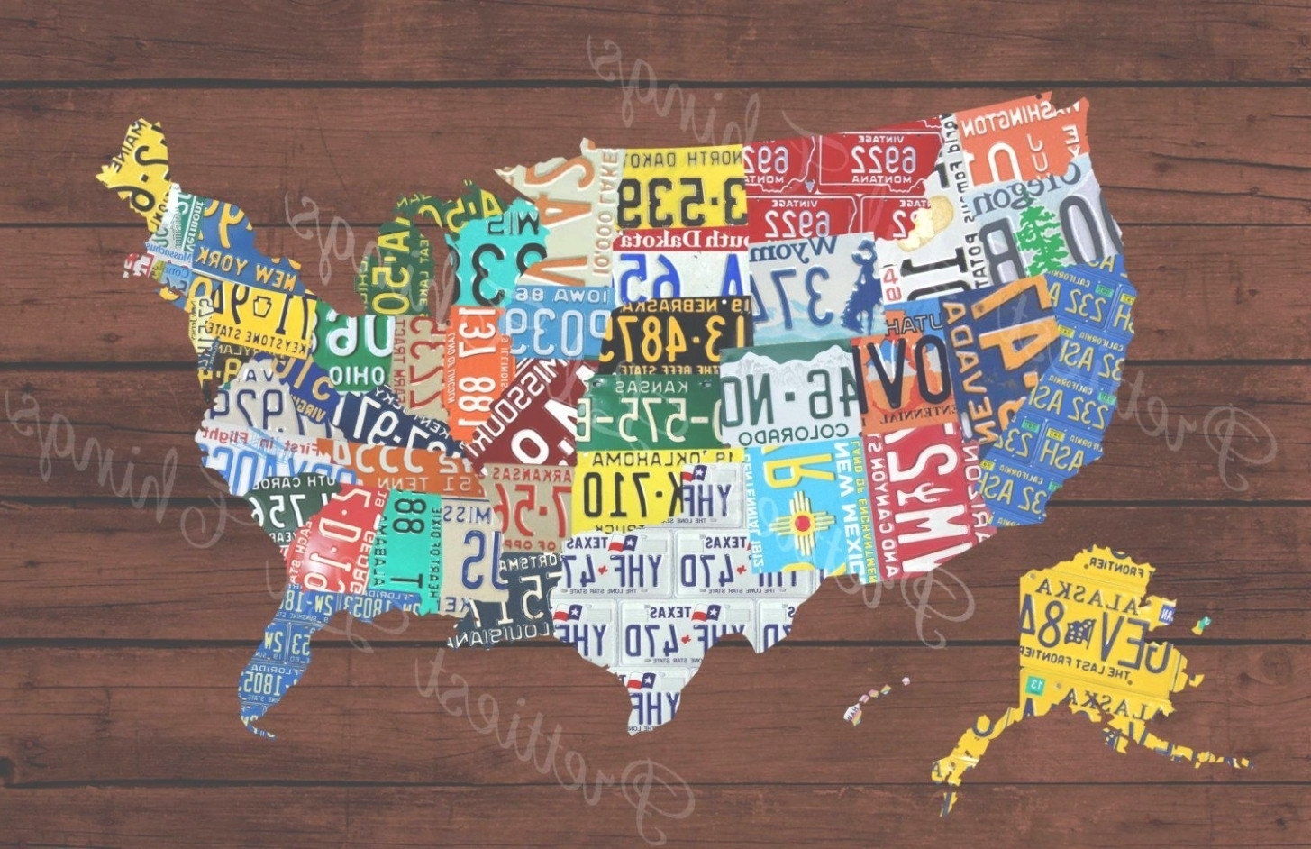 45 Ideas Of License Plate Map Wall Art Beauteous United States Pertaining To License Plate Map Wall Art (View 3 of 20)
