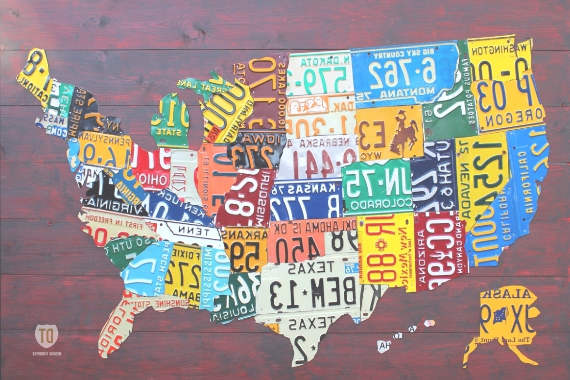 45 Ideas Of License Plate Map Wall Art Throughout Us Made Plates In License Plate Map Wall Art (View 2 of 20)