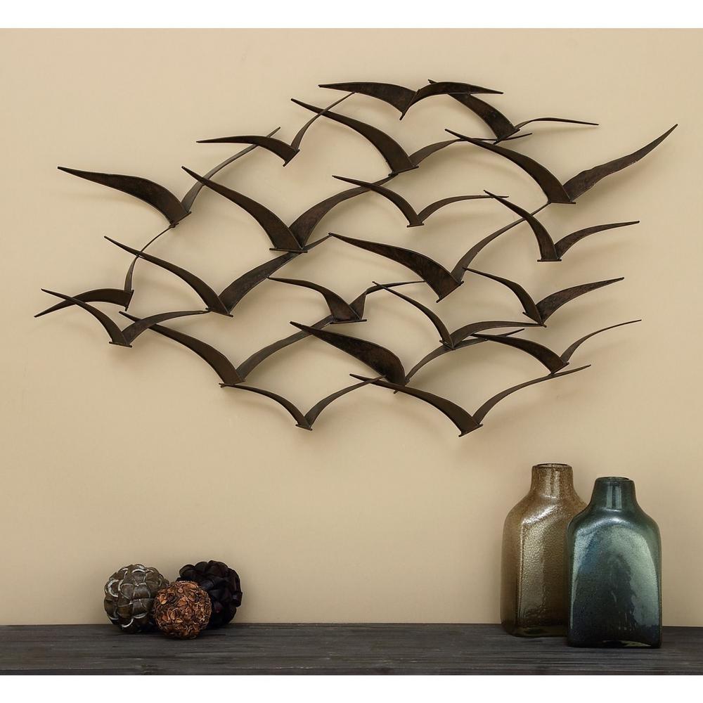 "47"" Metal Wall Sculpture Flock Of Birds Hanging Art Home Decor Pertaining To Metal Wall Art (View 3 of 20)"
