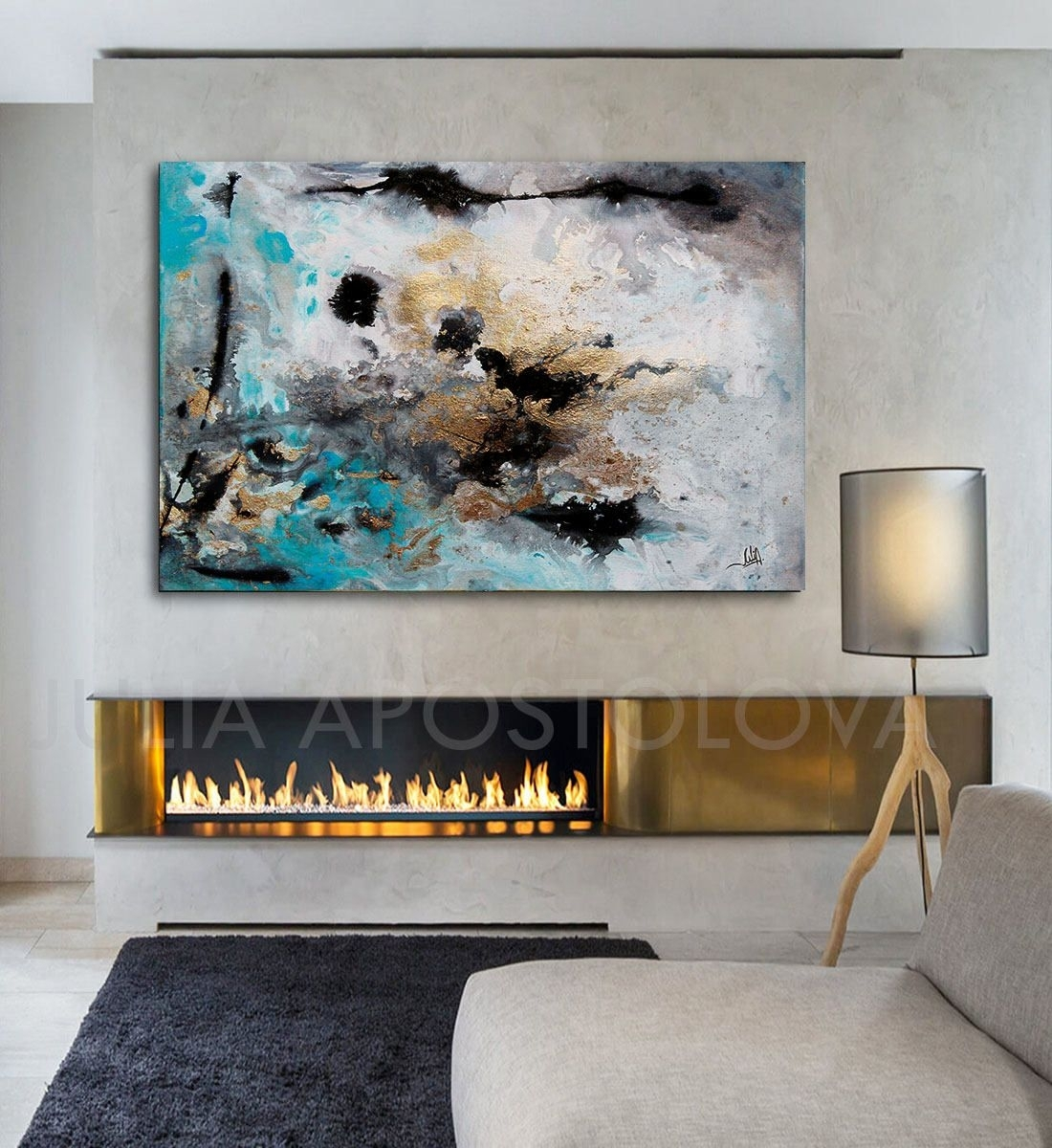48Inch, Turquoise Gold Black, Abstract Print, Large Wall Art with regard to Extra Large Wall Art (Image 3 of 20)