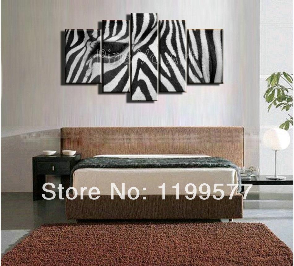 5 Muti Piece Modern Abstract Wall Art Handmade Black White Zebra Within Zebra Canvas Wall Art (Photo 11 of 20)
