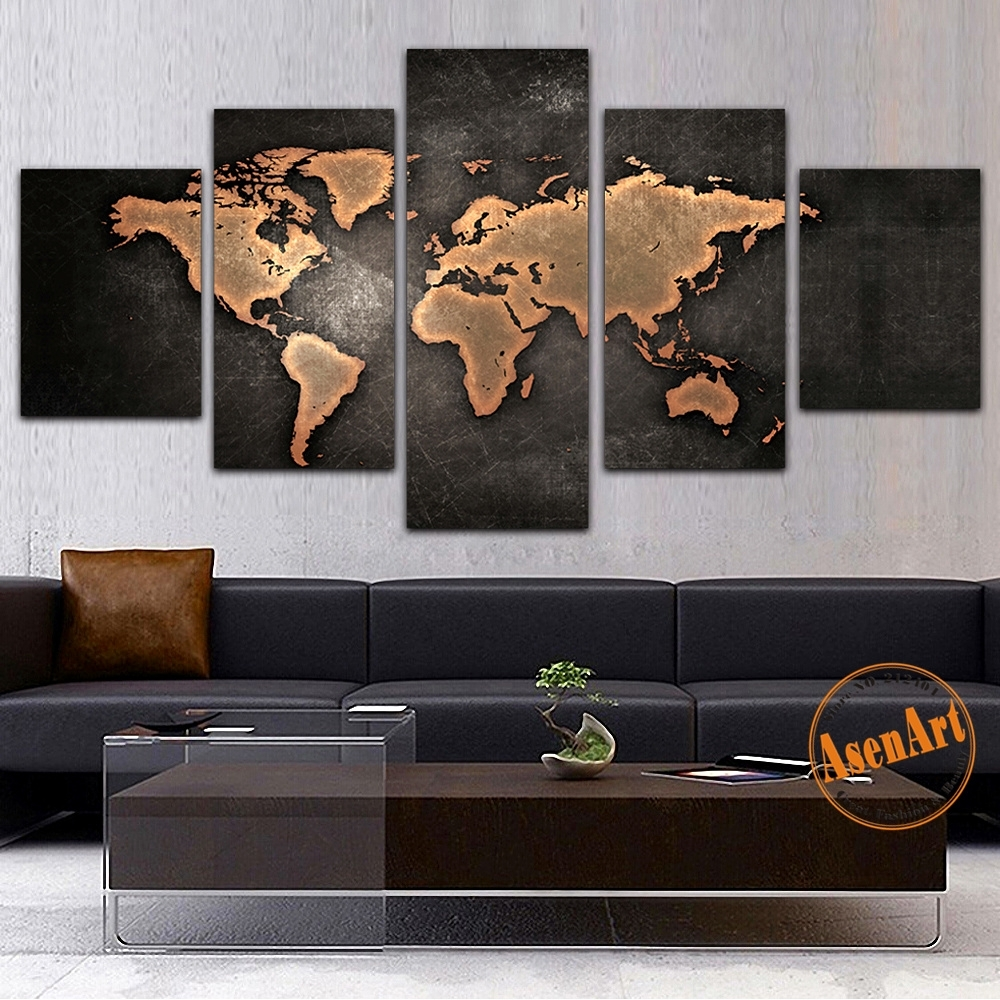 5 Panel Canvas Painting Classic World Map Canvas Prints Painting intended for Map Wall Art Prints (Image 2 of 20)