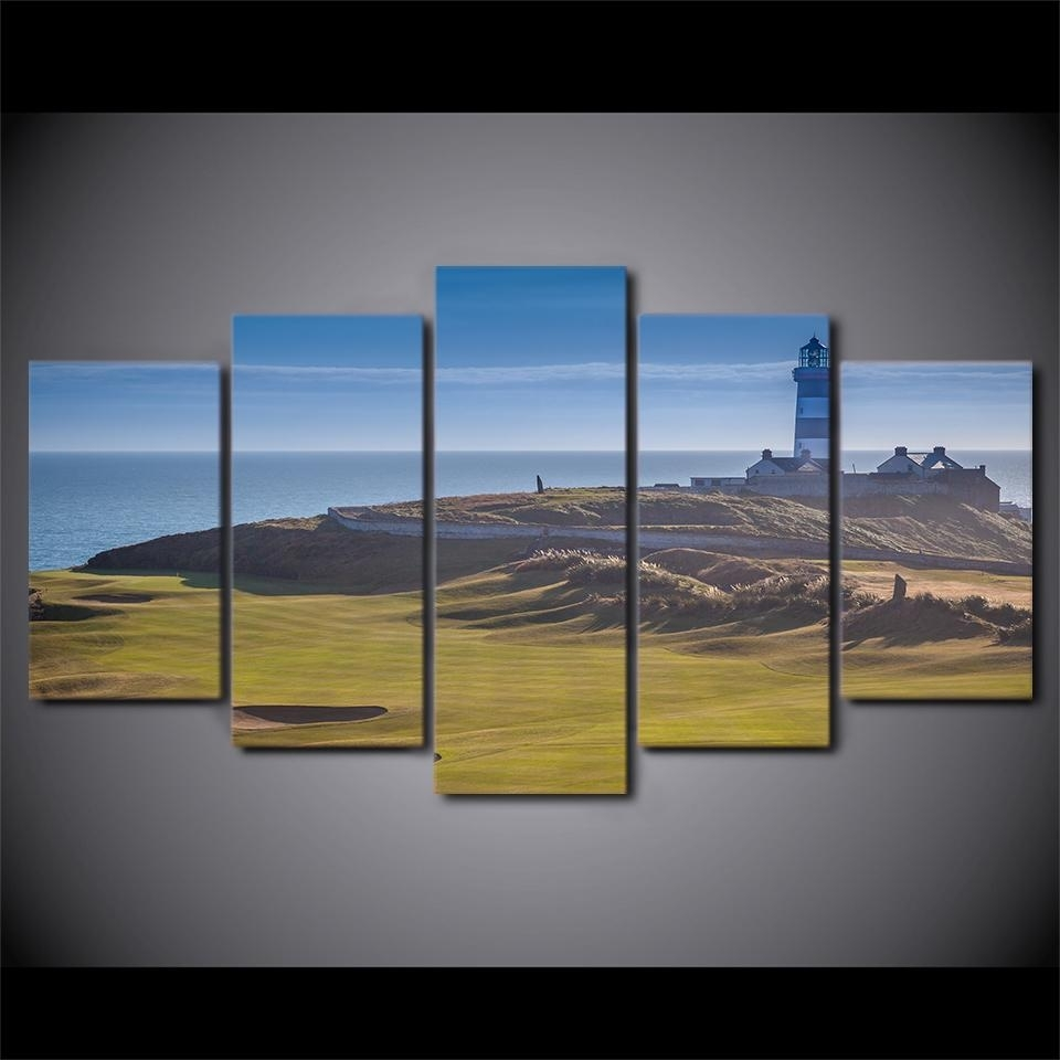 5 Panel Canvas Panel Picture Art Golf Course Print Sports Hills Wall Intended For Golf Canvas Wall Art (Photo 6 of 20)