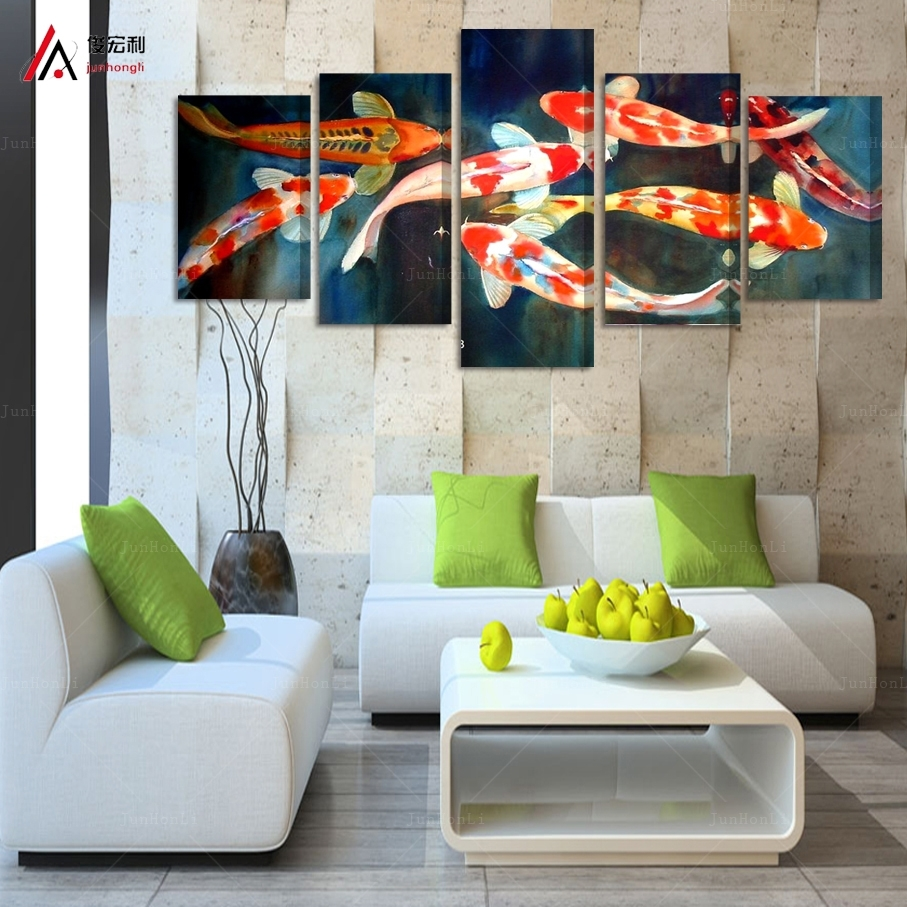 5 Panel Canvas Prints Koi Fish Art Chinese Painting Printed Home In Fish Painting Wall Art (Photo 11 of 20)