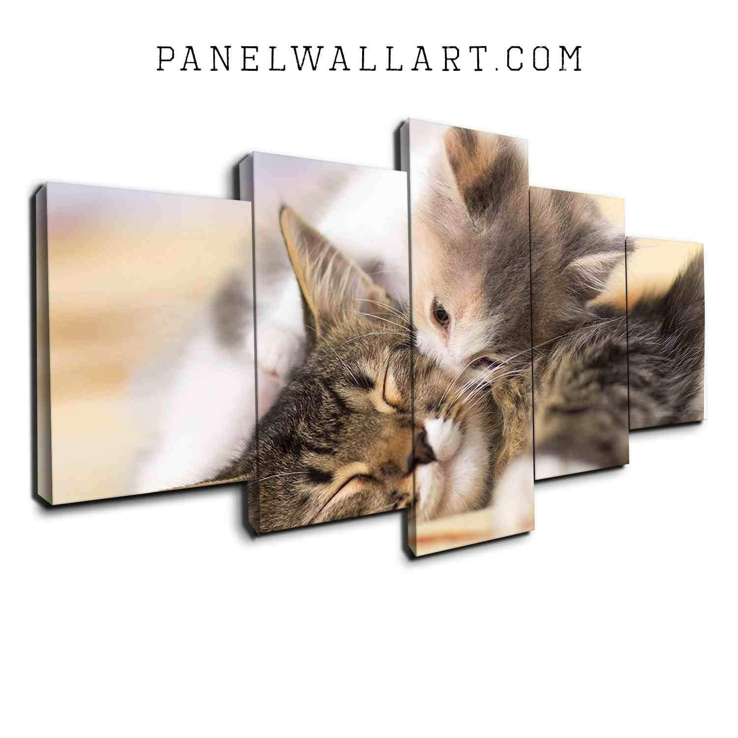 5 Panel Canvas Wall Art | Kissing Kitten On Bed | Panelwallart in Cat Canvas Wall Art (Image 2 of 20)