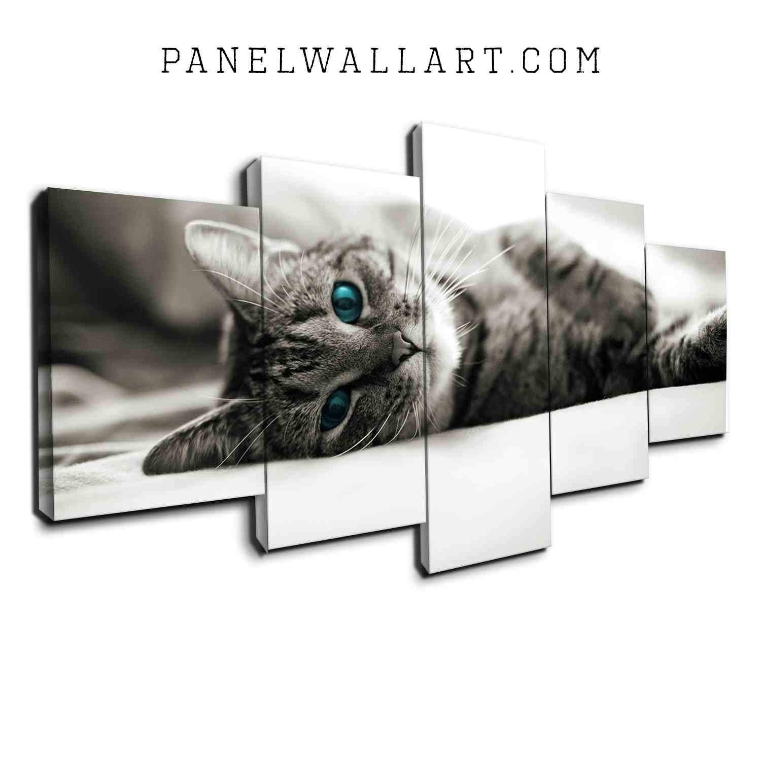 5 Panel Canvas Wall Art | Kitten On Bed | Panelwallart inside Cat Canvas Wall Art (Image 3 of 20)
