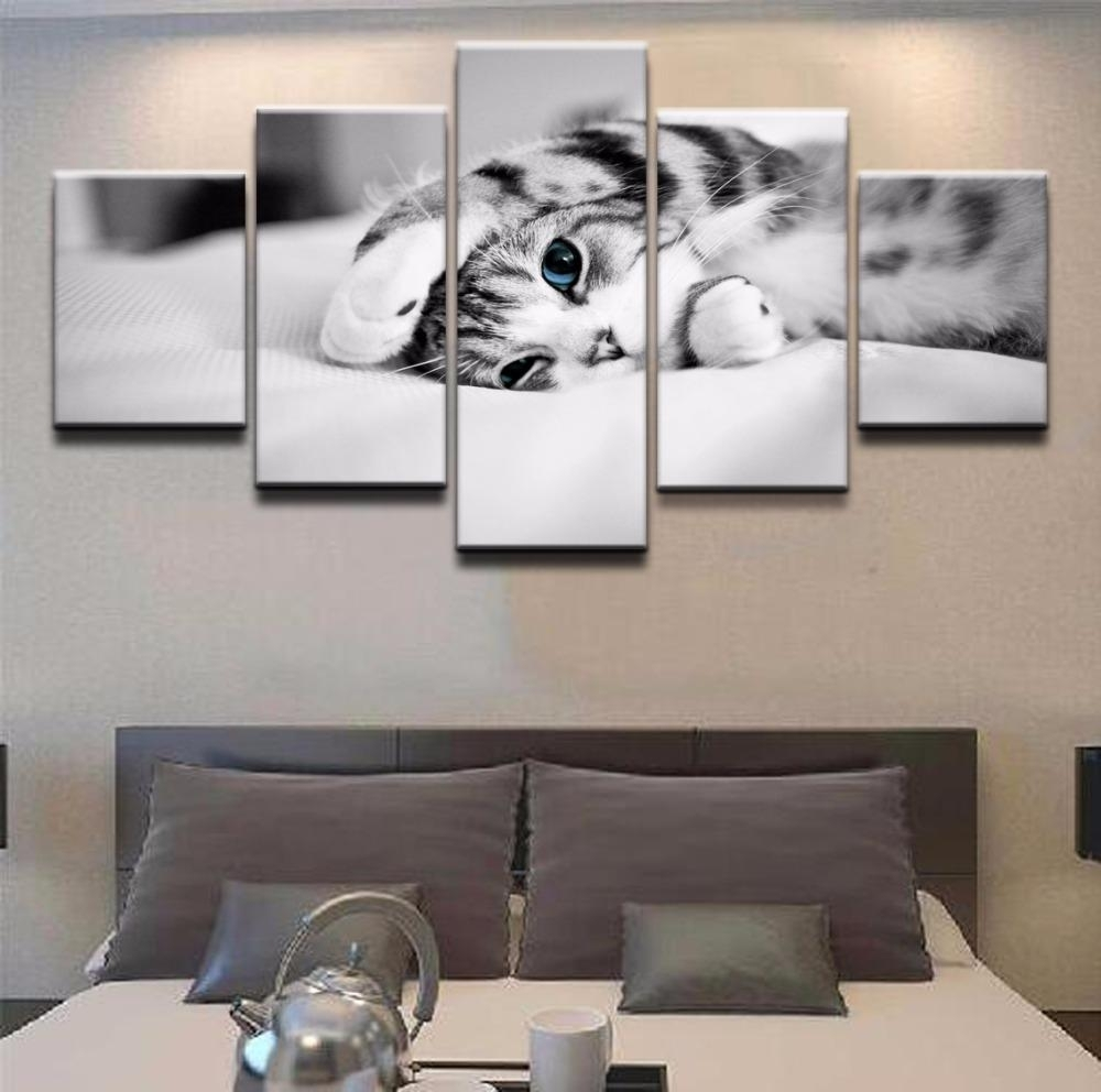 5 Panel Canvas Wall Art | Kitten On Bed | Panelwallart Within Five Piece Canvas Wall Art (Photo 13 of 20)