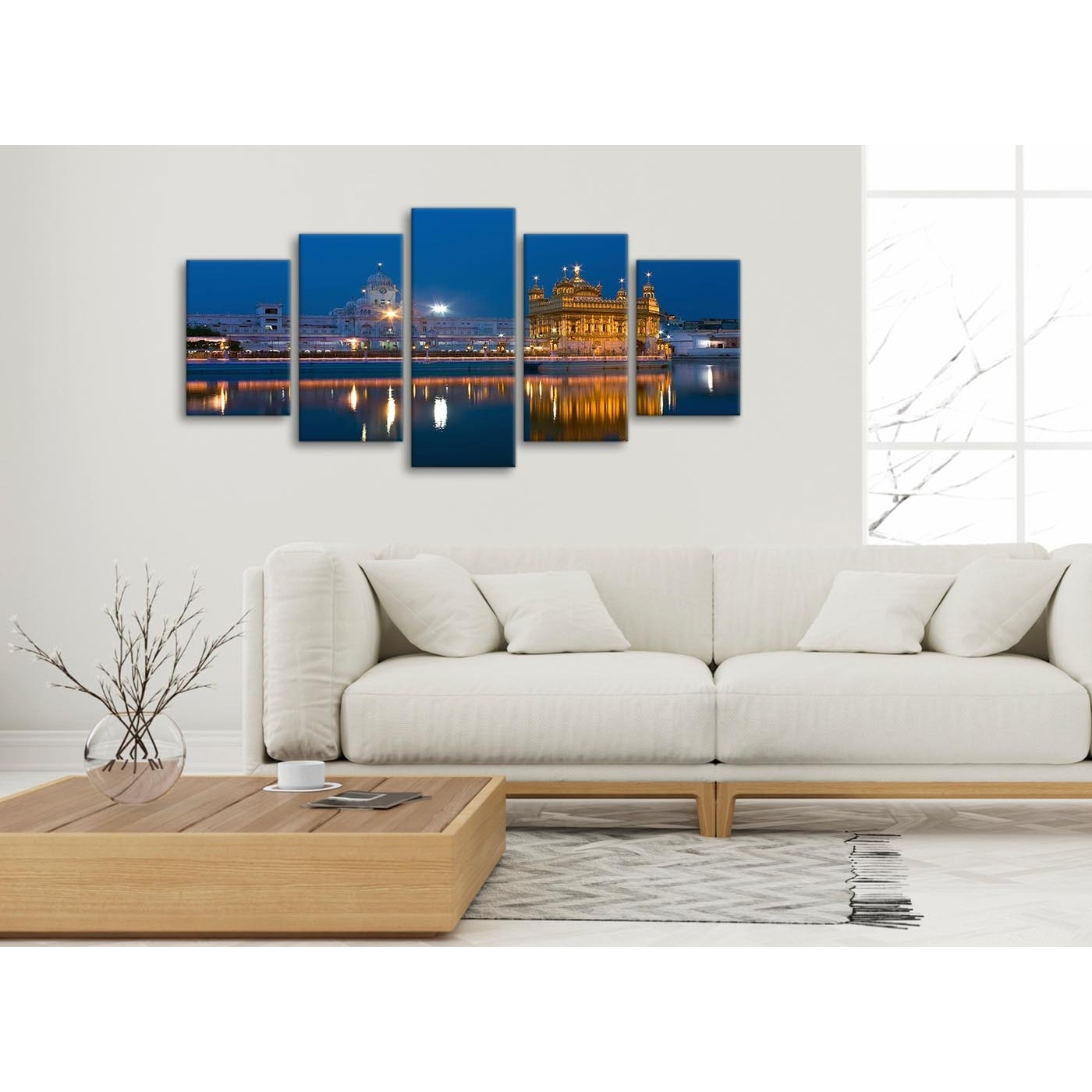 5 Panel Canvas Wall Art Pictures - Sikh Golden Temple Amritsar in 5 Piece Wall Art (Image 4 of 20)