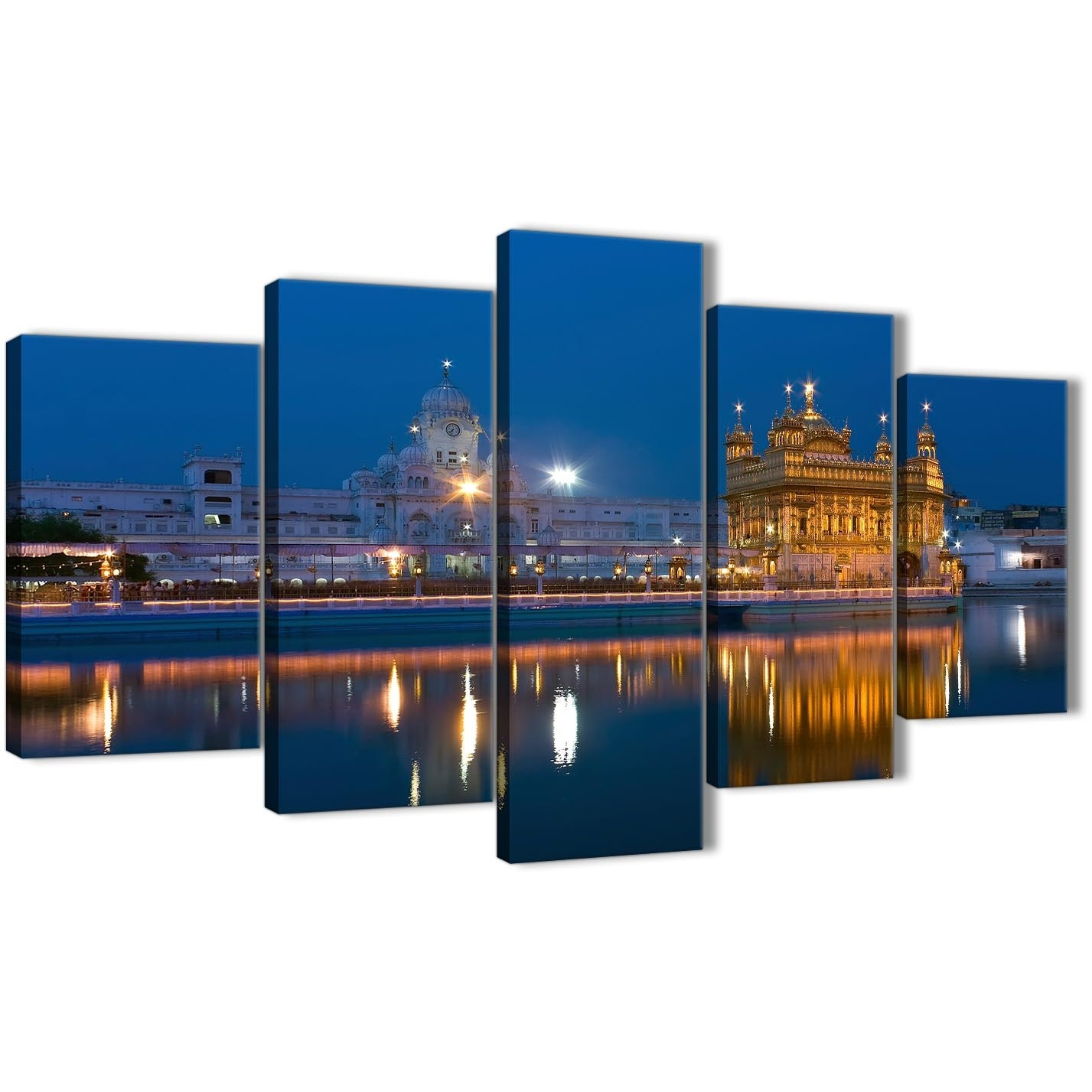 5 Panel Canvas Wall Art Pictures - Sikh Golden Temple Amritsar throughout 5 Piece Canvas Wall Art (Image 2 of 20)