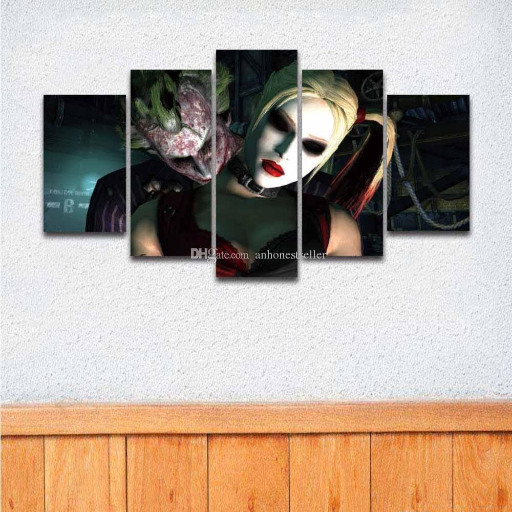 5 Panel Canvas Wall Art Prints Joker Painting For Wall Decor Living With Regard To Joker Wall Art (Image 2 of 20)