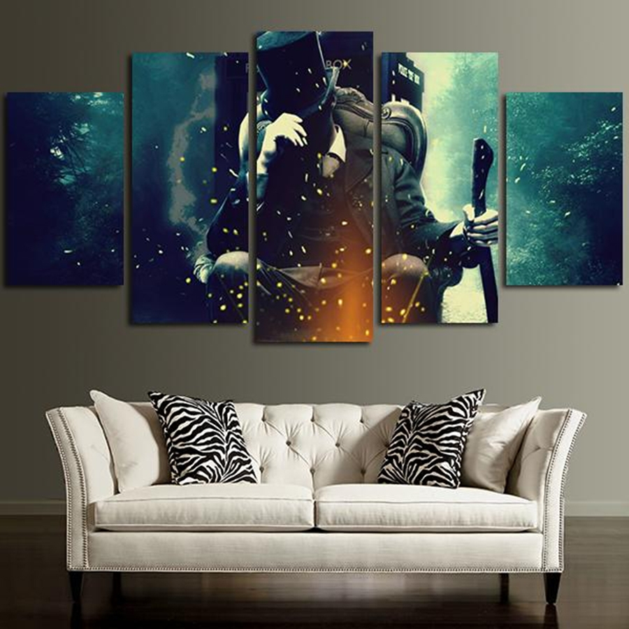 5 Panel Doctor Who Characters Wall Art Canvas In Painting Inside Doctor Who Wall Art (Photo 2 of 20)
