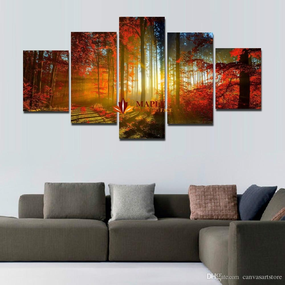 5 Panel Forest Painting Canvas Wall Art Picture Home Decoration For For Modern Large Canvas Wall Art (Photo 2 of 20)