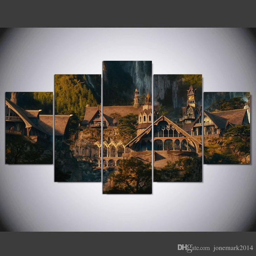 5 Panel Framed Hd Printed Lord Of The Rings Hobbit Castle Wall Art regarding Lord of the Rings Wall Art (Image 1 of 20)