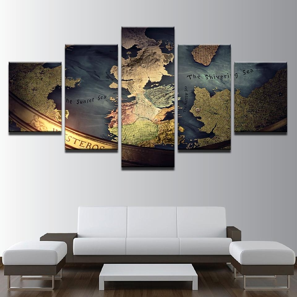 5 Panel Game Of Thrones World Map Print Mediterranean Wall Art On Within 5 Panel Wall Art (View 5 of 20)