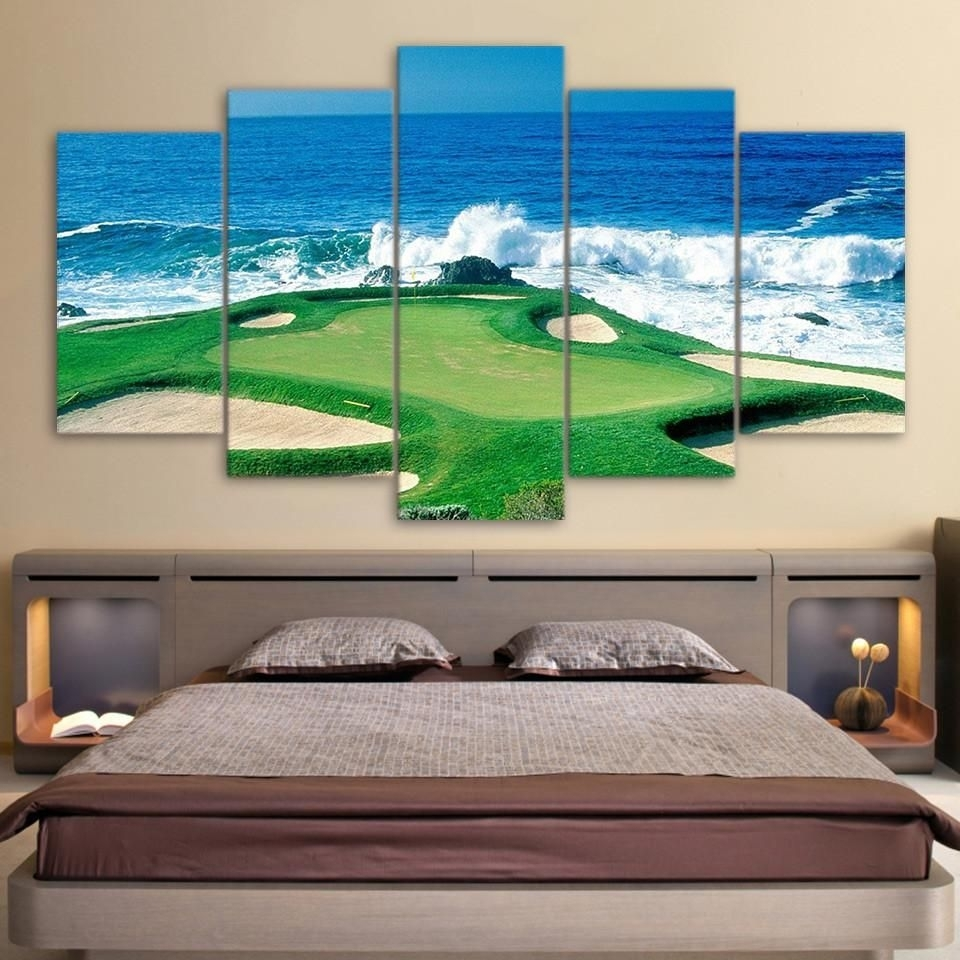 5 Panel Golfing Golf Course Green Wall Art Panel Print On Canvas With Regard To Golf Canvas Wall Art (Photo 3 of 20)