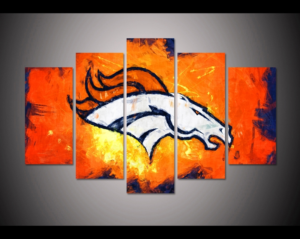 5 Panel Hd Printed Canvas Painting Sport Denver Broncos Canvas Print With Broncos Wall Art (Photo 5 of 20)