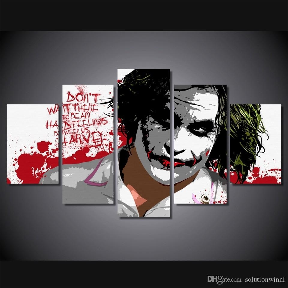 5 Panel Hd Printed The Joker Digital Art Painting On Canvas Room Within Joker Wall Art (Image 3 of 20)