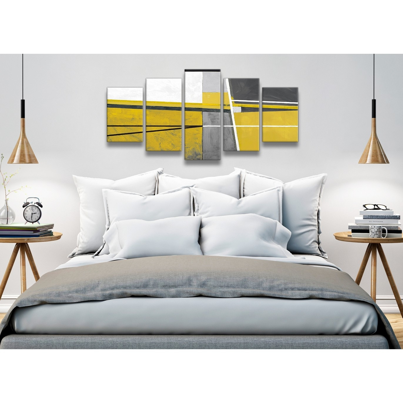 5 Panel Mustard Yellow Grey Painting Abstract Bedroom Canvas for Bedroom Wall Art (Image 3 of 20)