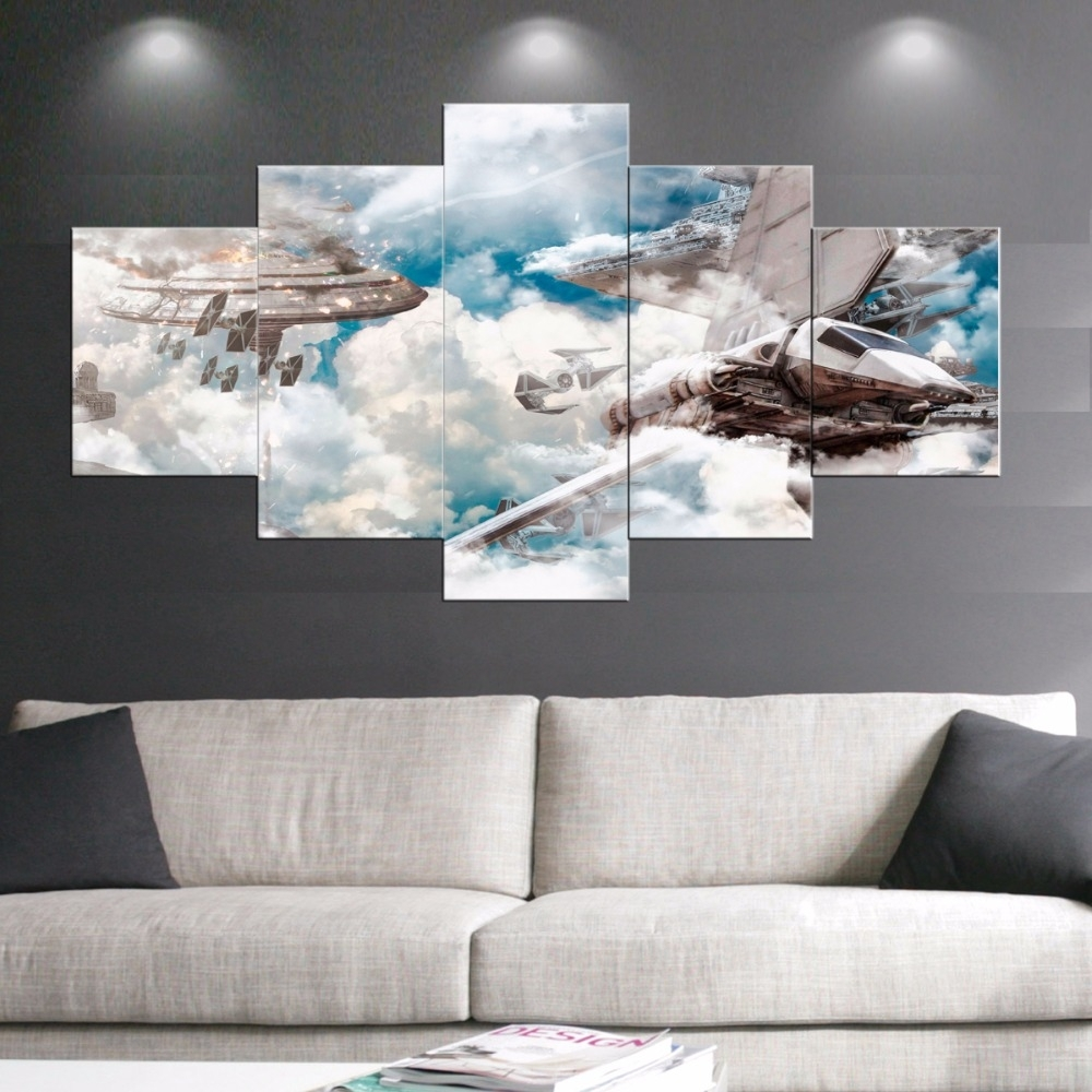 5 Panel Star Wars Canvas Painting Movie Painting Prints Posters Wall Throughout Star Wars Wall Art (View 3 of 20)