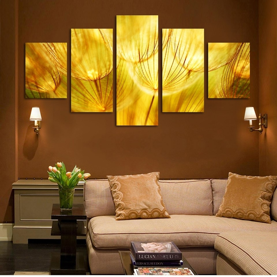 5 Panel Wall Art Gold Flower Painting On Canvas Quartz Crystal For Gold Wall Art (Photo 4 of 20)