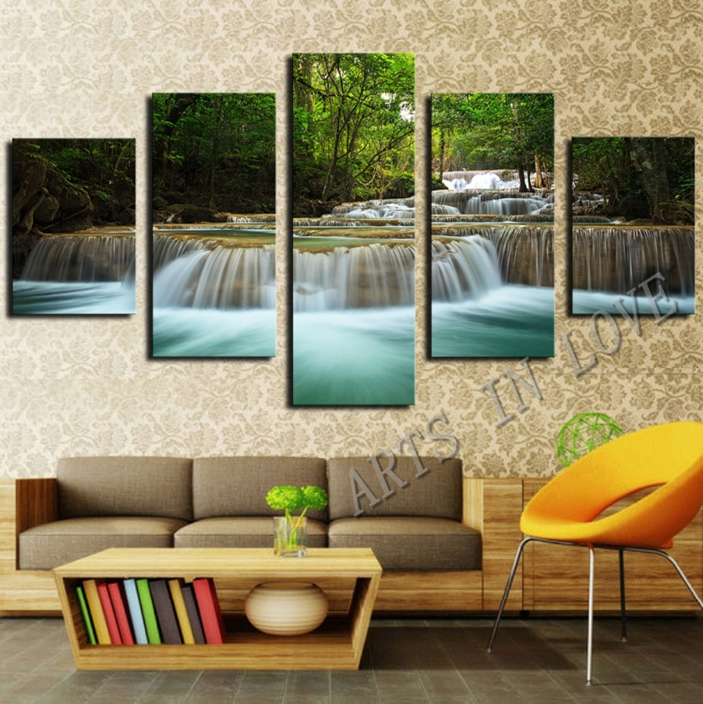 5 Panel Waterfall Painting Canvas Wall Art Picture Home Decoration Inside Modern Large Canvas Wall Art (Photo 13 of 20)