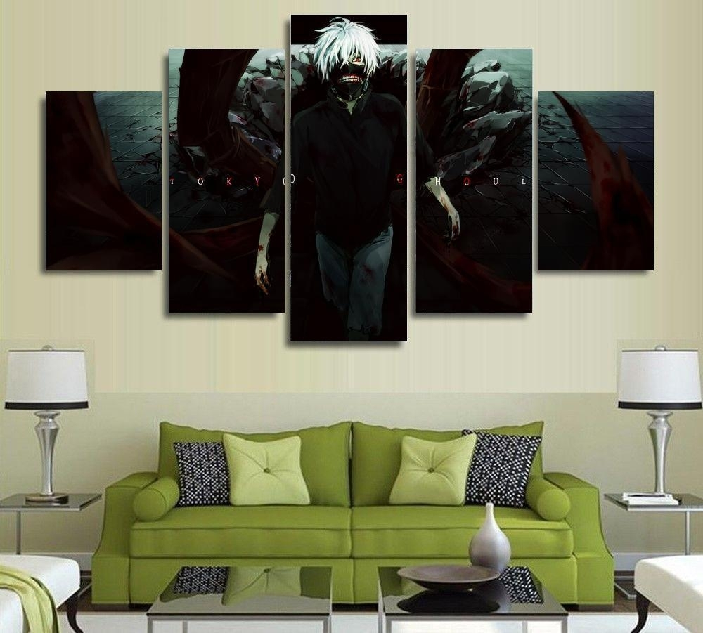 5 Panels Anime Tokyo Ghoul Ken Kaneki Painting Canvas Wall Art with regard to Living Room Painting Wall Art (Image 9 of 20)