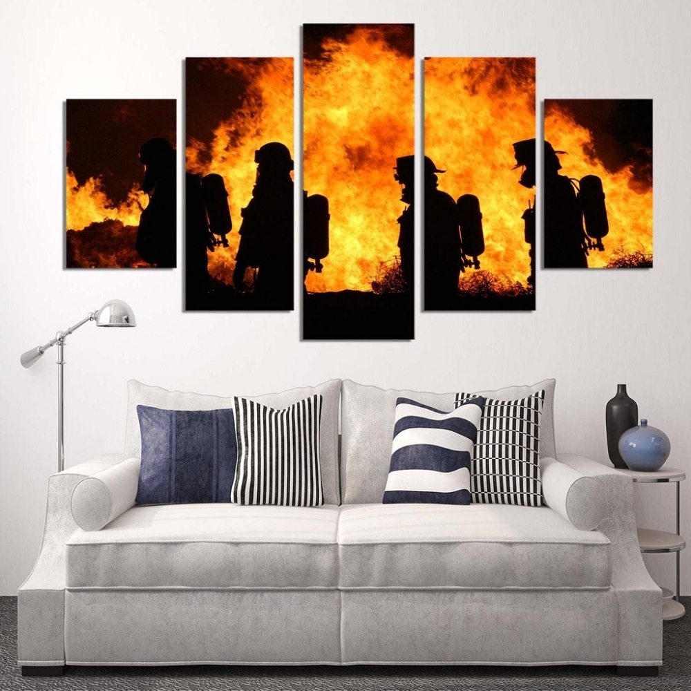 5 Panels Canvas Prints Firefighter Our Hero Canvas Painting Poster With Firefighter Wall Art (Photo 1 of 20)