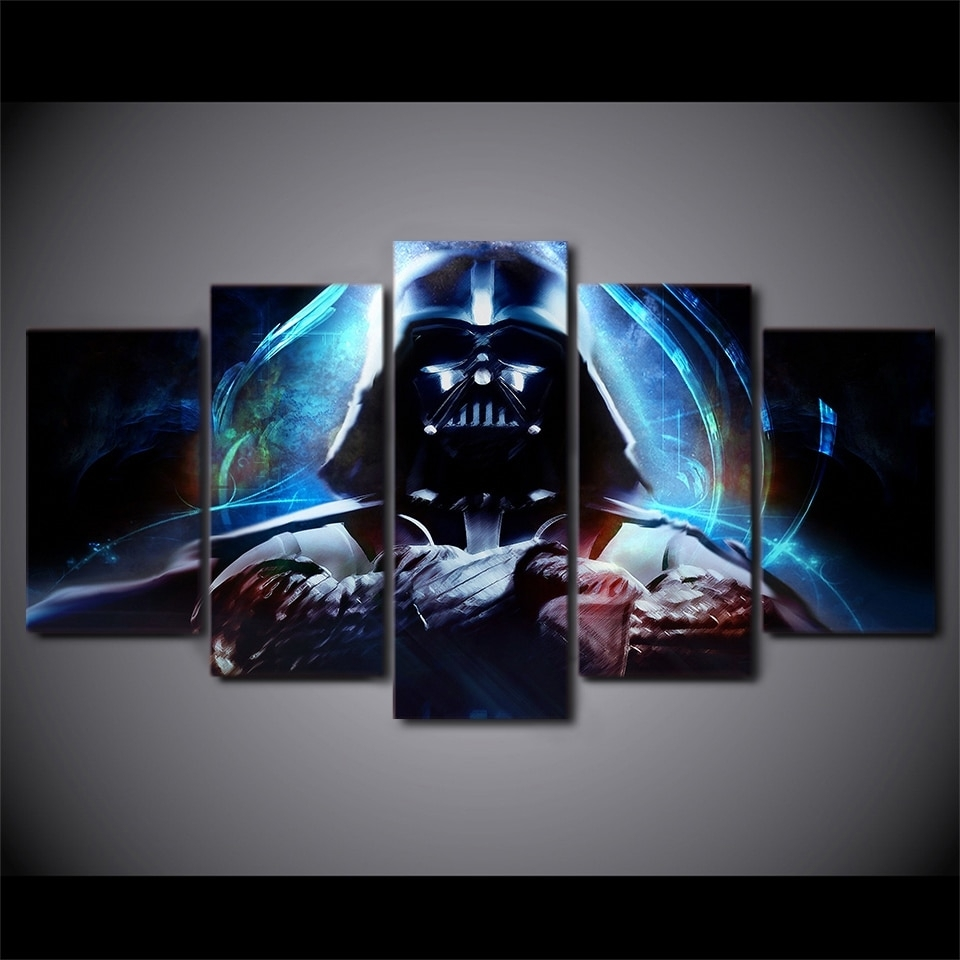 5 Panels Canvas Prints Hot Moives Darth Vader Wall Art Home Decor 5 throughout Darth Vader Wall Art (Image 4 of 20)