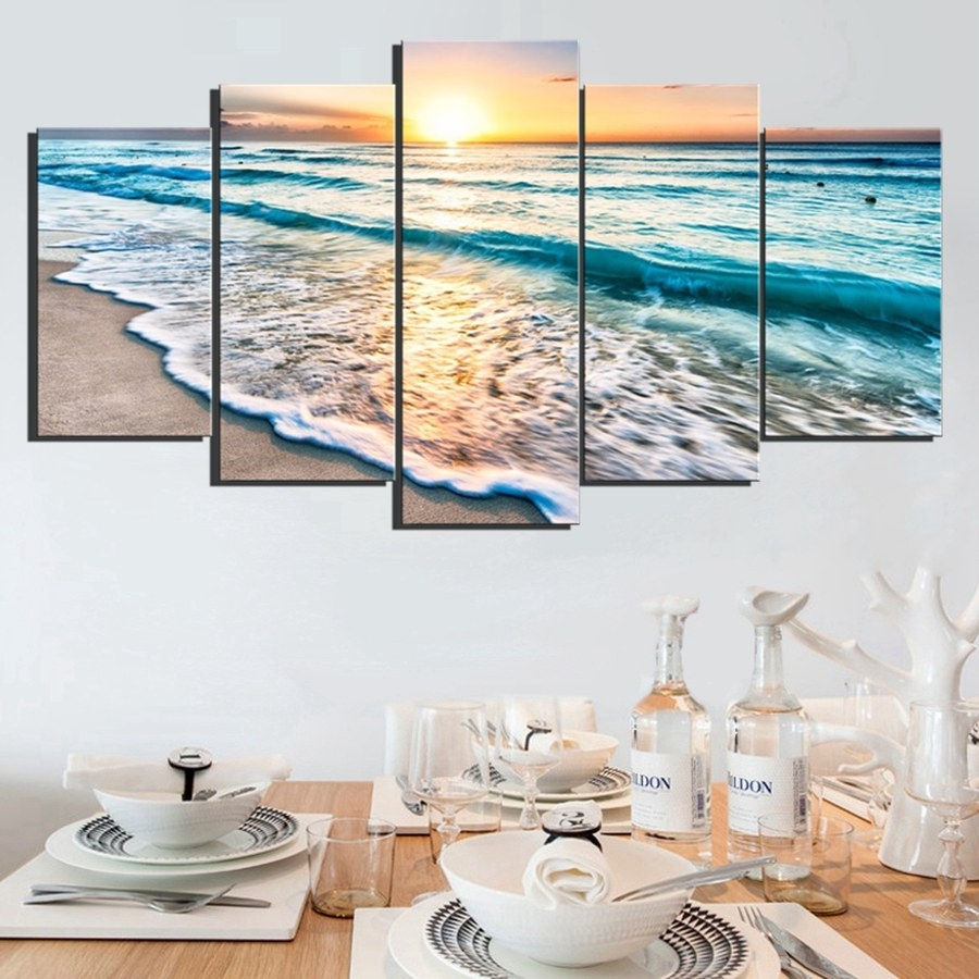 5 Panels Sunset Beach Wall Art Canvas Sea Wave Seascape Picture Art Pertaining To Beach Wall Art (Photo 9 of 20)