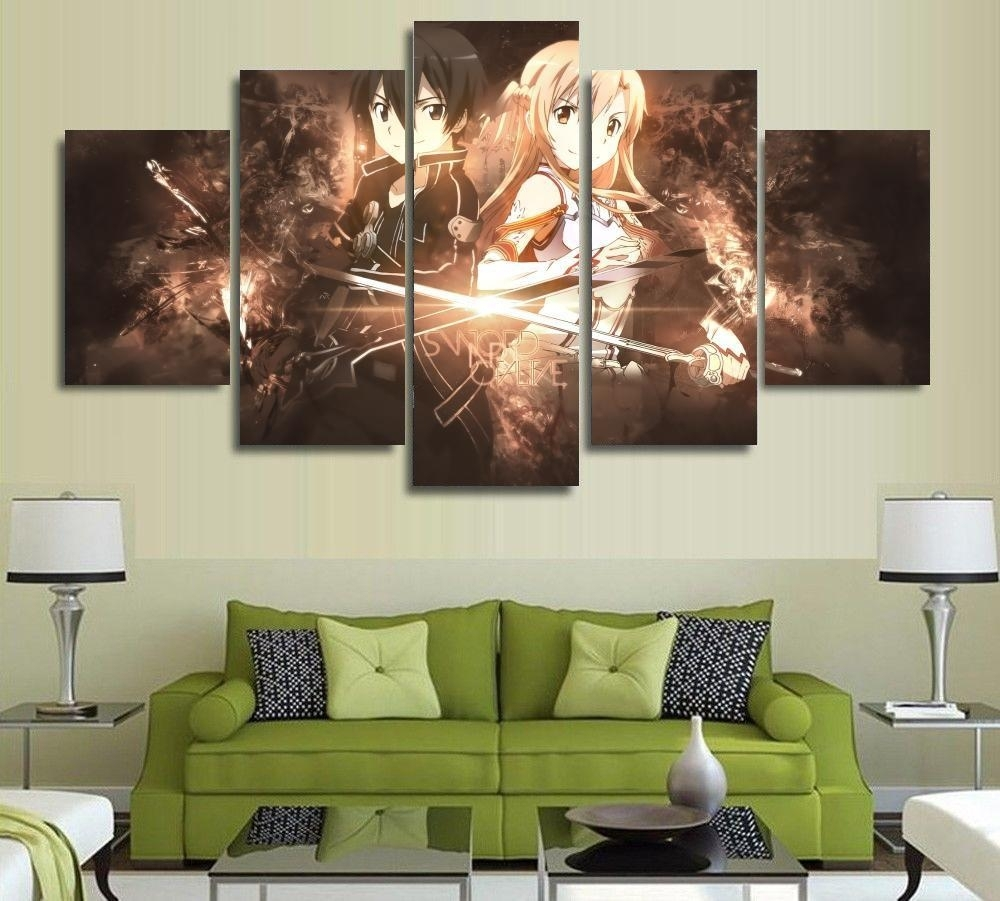 5 Panels Wall Art Anime Sword Art Online Kirito Sao 5 Pieces regarding 5 Piece Wall Art (Image 6 of 20)