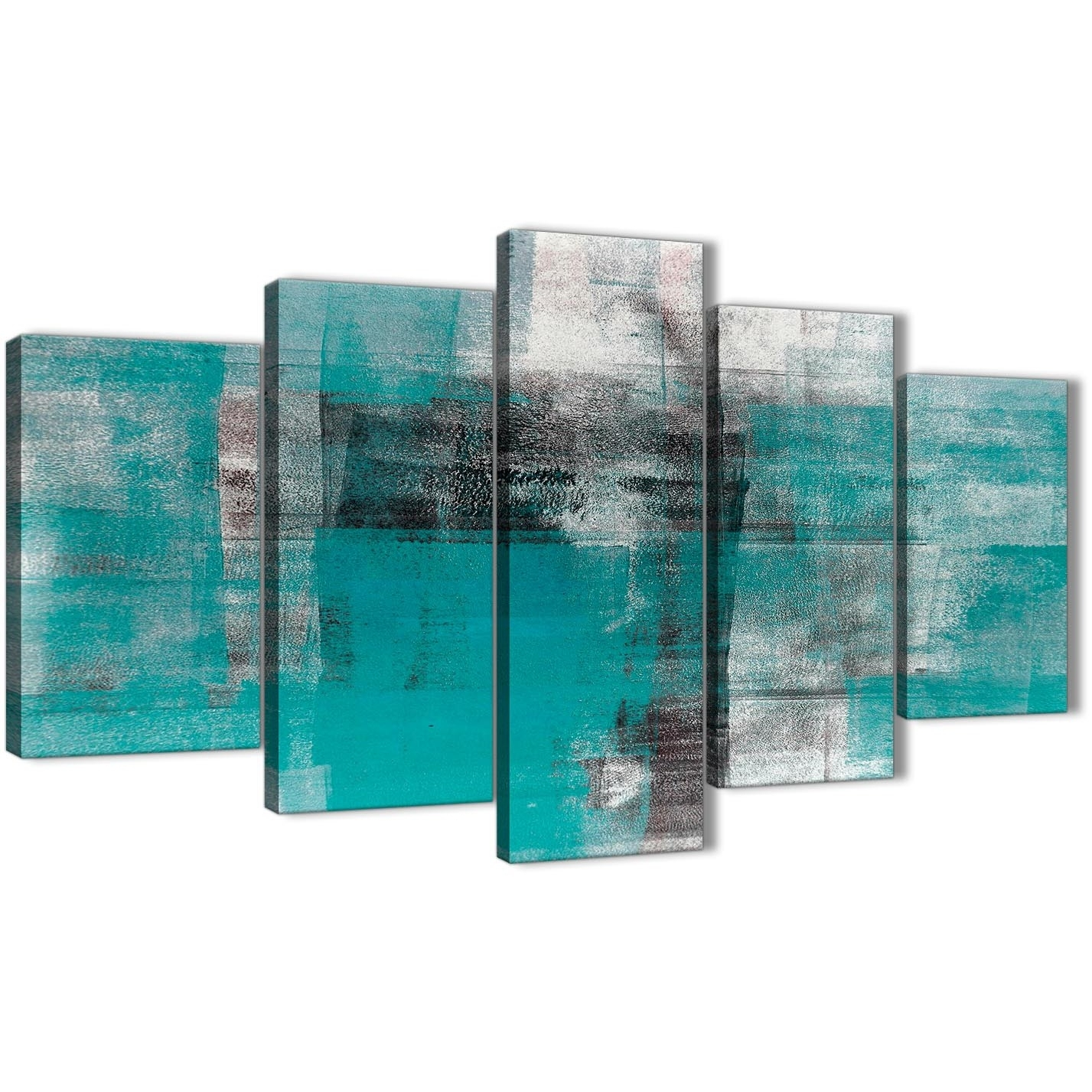5 Part Teal Black White Painting Abstract Office Canvas Wall Art with Oversized Teal Canvas Wall Art (Image 1 of 20)