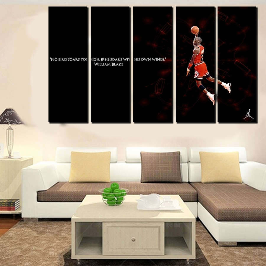 5 Pcs For Michael Jordan Large Seaview With Frame Canvas Print Pertaining To Large Framed Canvas Wall Art (Photo 11 of 20)