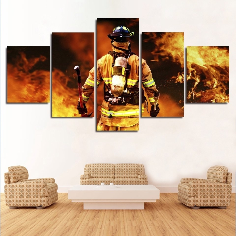 5 Pcs Modern Contemporary Silk Posters Fire Rescue Wall Art In Firefighter Wall Art (Photo 8 of 20)