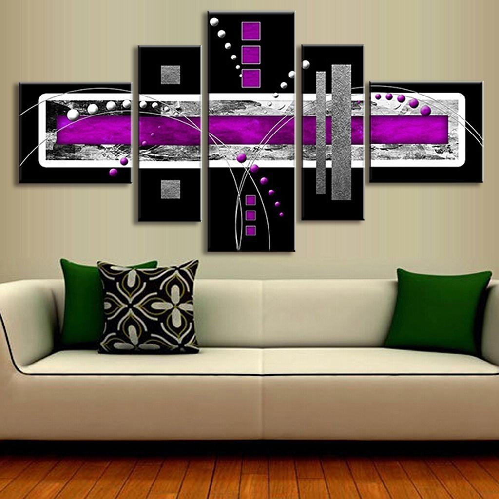 5 Pcs/set Abstract Oil Painting Purple Black Grey Canvas Wall Art Within Purple And Grey Wall Art (Photo 17 of 20)