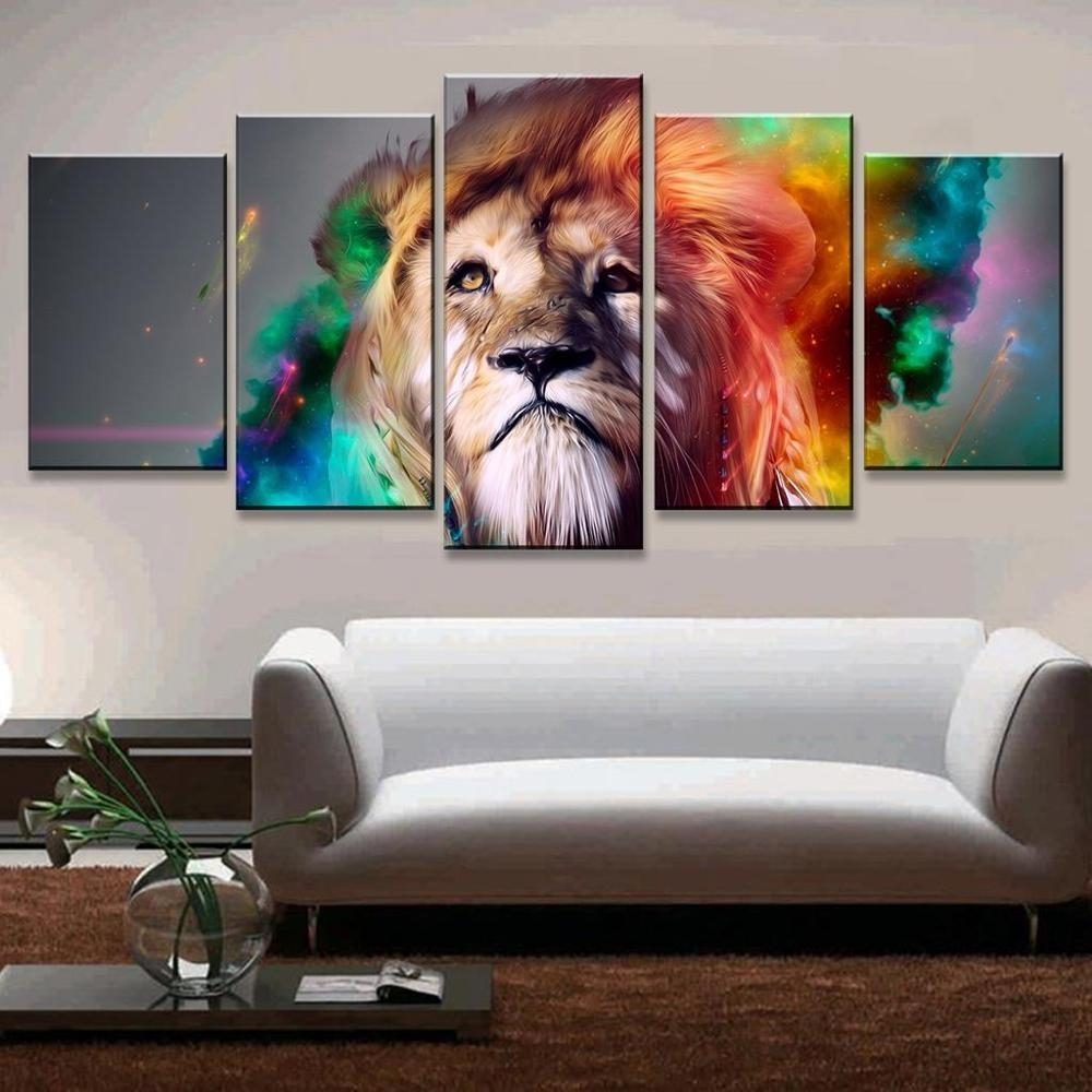 5 Pcs/set Colorful Lion Wall Art Picture Print Oil Painting On For Lion Wall Art (Photo 11 of 20)