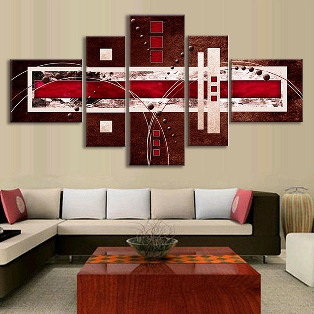 5 Pcs/set Combined Modern Abstract Oil Painting Brown Red Cream with regard to Red Canvas Wall Art (Image 5 of 20)