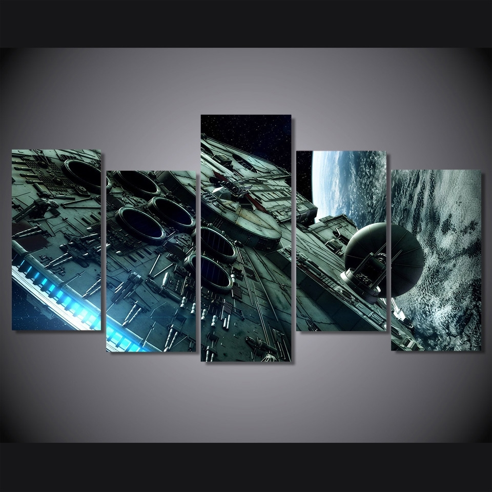 5 Pcs/set Hd Printed Millennium Falcon Star Wars Picture Wall Art For Star Wars Wall Art (View 4 of 20)