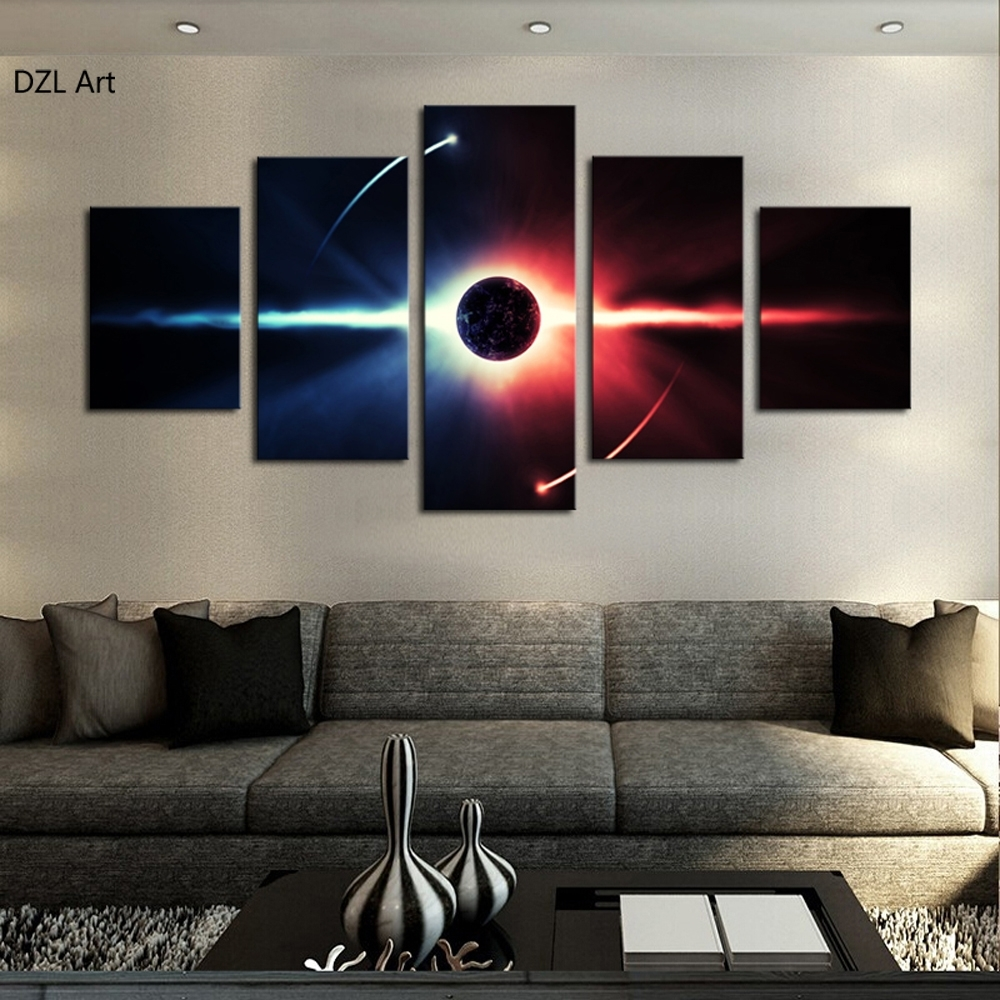 5 Pcs(No Frame) Large Hd Abstrac Planet Canvas Print Painting For Intended For Living Room Wall Art (Gallery 7 of 20)